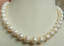 "New 14K Solid Gold Clasp 10-11MM White Akoya Pearl Necklace 18""AAA+"