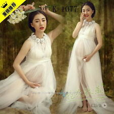 CHARMING WHITE MATERNITY SEXY LONG LACE DRESS PROPS PREGNANCY MATERNITY CLOTHING