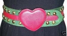 Authentic MOSCHINO Redwall Brass Rivet Red Leather HEART Green Suede Sz 40 Belt