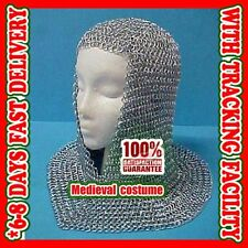Chainmail Coif Aluminum V neck Chainmail Hood Medieval Reenacment Armor c1
