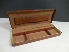 Vintage Shields Mens Jewelry Valet Box Travel Cuff Link Tie Tac Storage Leather