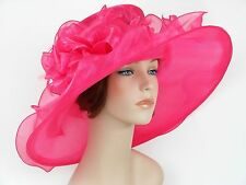 New Church Kentucky Derby Wedding Organza Wide Brim Dress Hat 3546 Hot Pink