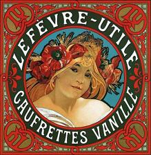 "LEFEVRE UTILE VANILLE Art Nouveau Deco Stampa Alphonse Mucha 12x11 ""Poster Nuovo"