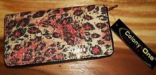 Multicolor Pink Leopard Print Sparkle Cloth Opera Wallet Gold-Colored Zipper NWT