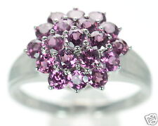 Solid 925 Sterling Silver Genuine Tourmaline Cluster Ring Sz- 9 ...