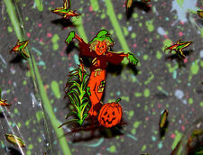 """rare vintage 30""""x45"""" HALLOWEEN CELLOPHANE GIFT WRAP SHEET scarecrow corn pumpkin"""