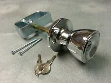 """5-1/2"""" Chrome Door Knob Handle Lock Set - For shed, gate, playhouse, coops, more"""
