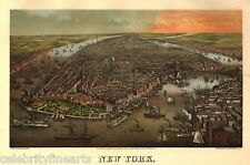 New York City Manhattan Repro Old Antique Vintage Panorama Picture Poster Print