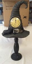 Witch Hat Mantle Clock Spider Crow Pedestal Halloween Decor Prop Resin Hat NIB