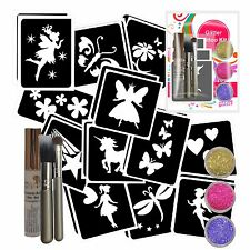 FAIRY GLITTER TATTOO KIT- 24 Stencils, 3 Glitter, Glue & Brushes - Parties/Gifts