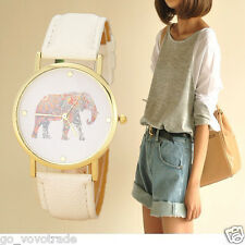 Fashion Women Elephant Printing Pattern Weaved Leather Quartz Dial Wrist Watch