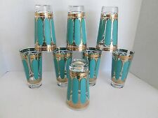 Set 8 Fred Press Turquoise Gold Mid Century Modern Tumblers Barware Federal