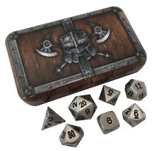 Pewter and Black- Solid Metal Polyhedral Role Playing Game (RPG) Dice Set