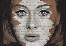 Adele ORIGINAL Portrait Drawing with Hello lyrics - A4 size signed Art 25 Album