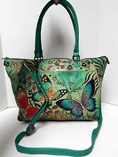 Anuschka Handpainted Green Multi Butterfly Leather Convertible Tote Crossbody