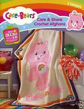 CARE BEARS CARE&SHARE CROCHET AFGHANS-5 Patterns-Cross Stitch Blanket Craft Book