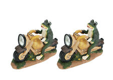 Aspen Creative 60900 Two Pack Set, Frog on a Motorcycle Solar LED Accent Light