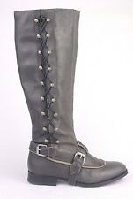 J LITVACK Bleecker Motorcycle Womens Leather Grey Boots Size  38  $ 325