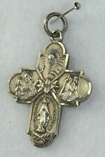 VTG STERLING SILVER I AM A CATHOLIC CROSS MULTI MEDAL PENDANT