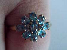 STUNNING VINTAGE QVC 9CT GOLD GENUINE NATURAL BLUE ZIRCON RING SIZE V US 10 3/4