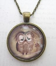 Vintage Look Fed up Sad Brown Cute Owl Pendant Glass Necklace New in Gift Bag