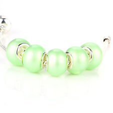 5pcs Jelly Simple SILVER MURANO bead LAMPWORK fit European Charm Bracelet D396