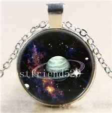 Space, Saturn Rings & Moons Cabochon Glass Tibet Silver Chain Pendant Necklace