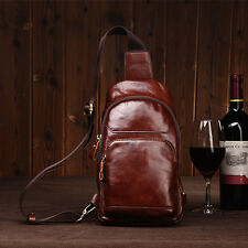 Men fashion Genuine Leather Cross Body Messenger Shoulder Bag Sling Chest Pack
