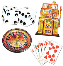 4 pc Cardboard Cutout  CASINO  Las Vegas Gambling Poker Roulette  Birthday Party