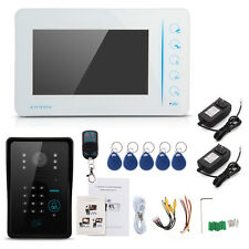 "Touch Key 7"" LCD Wired Video Door Doorbell Intercom System IR Camera+Keys"
