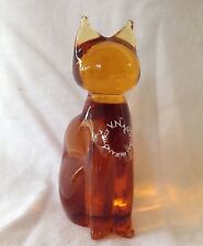 "GLASS CAT Figurine 3.5"" H by V.NASON & C. MURANO ITALY Topaz glass"