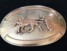 RARE VTG Silver COMSTOCK CHARIOT HORSE RACING TROPHY BELT BUCKLE-Sulky, Harness