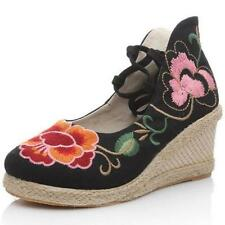 Embroidered Ladies Wedge Shoes Flower Ankle Strap Pump Chinese Ethnic New M3