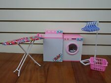 Barbie-size Dollhouse Furniture- Laundry Room with Iron & Ironing Table NEW