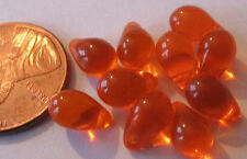 40 Czech Glass Perfect Translucent Orange Drop Beads 9mm x 6mm