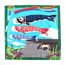 Flying Carps & Tabby Cat on the Roof Japanese Cotton Furoshiki Cloth TB77