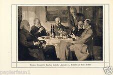 Münchner Stammtisch Kunstdruck von 1912 Walter Geffcken * Hamburg † Kreuth Wein