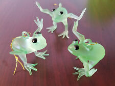 Happy Jumping Frog Christmas tree ornament holiday Glassware Pine Tree Set of 3