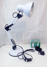 New Adjustable Swing Arm Desk Lamp Table Drafting Light  White