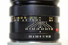 Mint- Leica Leitz Elmarit-R 90mm f/2.8 lens w/ build-in hood made in Germany