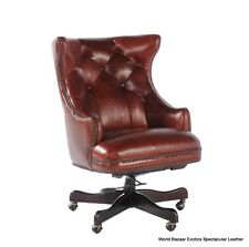 32' W Office desk chair casters tufted back soft vintage brown leather luxurious