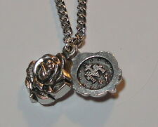 "Rose Locket-Style Miraculous Medal on 24"" Continuous Stainless Steel Chain NEW"