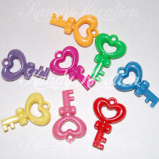 10 Key Hearts Charms 46mm Beads for Bubblegum Necklaces Kandi Rave Pony Bead Kid