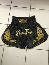 "MUAYTHAI SHORTS GOLDEN FIRE WITH MUAYTHAI WORD Size XL 32""-34"""