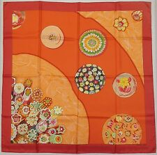 "Auth HERMES MINT ""sulfures détail"" by Caty Latham Red Silk Scarf 5305"
