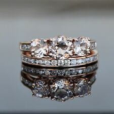 2.15ct Morganite & Diamond Wedding Engagement Ring Set 10k Rose Gold -Gift Boxed