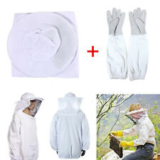 Protective Bee Keeping Jacket Veil Suit +1 Pair Beekeeping Long Sleeve Gloves