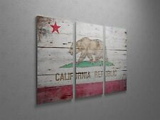 "Republic of California Vintage Flag Canvas Triptych Print 48""x30"""