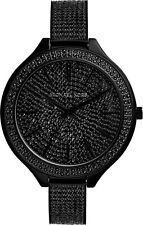NEW MICHAEL KORS LADIES WATCH MK3318 - PAVE CRYSTAL BLACK TONE SLIM RUNWAY