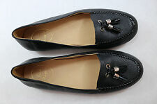 Womens Jack Rogers Terra 8 M Black Leather Slipon Flats Tassel Moccasin